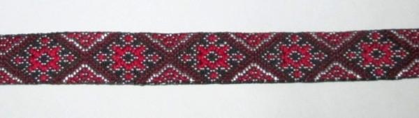 Лента вышиванка Ромб 1,2 см красная