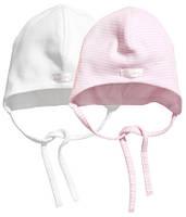 Детские шапочки для девочки (2 шт)  4-6 месяцев