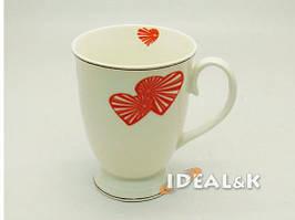 """Фарфоровая чашка  """"IDEAL- K"""" MP-06  """"ВАЛЕНТИНКА  3 сердца""""   320 мл., Идеал (Украина)"""