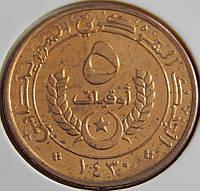 Монета Мавритании. 5 угий 2009 год.