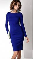 Платье трикотажное синий электрик основа образа , длинный рукав