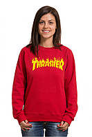 Свитшот женский  красный  Thrasher | Кофта Трешер