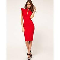 Платье футляр Волан красного цвета