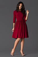 Платье бордовое с клешеной юбкой в ретро стиле