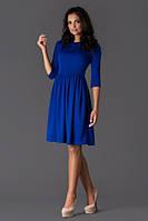 Платье синее с клешеной юбкой в ретро стиле синий электрик