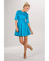 Платье бирюзовое с юбкой в складку