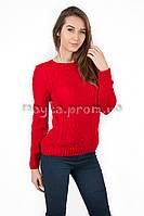 Кофта женская узор коса красный р.46-48 AL882-5
