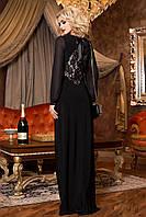 Изысканное Вечернее Платье в Пол с Кружевной Спиной Черное S-XL