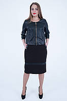 Костюм 2в1 черного цвета (платье и пиджак) , мод 566, размер 54,56