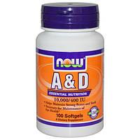 Витамин А и Д, Now Foods, 10000/400 МЕ, 100 капсул