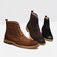 Мужские замшевые высокие ботинки