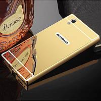 Чехол для Lenovo P70 зеркальный золотистый, фото 1