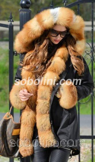 """Черная куртка парка с отделкой из отборной лисы """"Рэйчел """""""