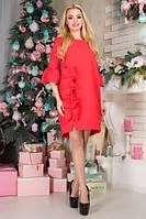 """Платье """"Вариента"""" красный размеры M, L, XL, XXl женское свободное батал с рюшами вечернее на работу"""