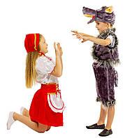 Костюм Красной шапочки:  кофта, юбка с  фартушком и шапочка.