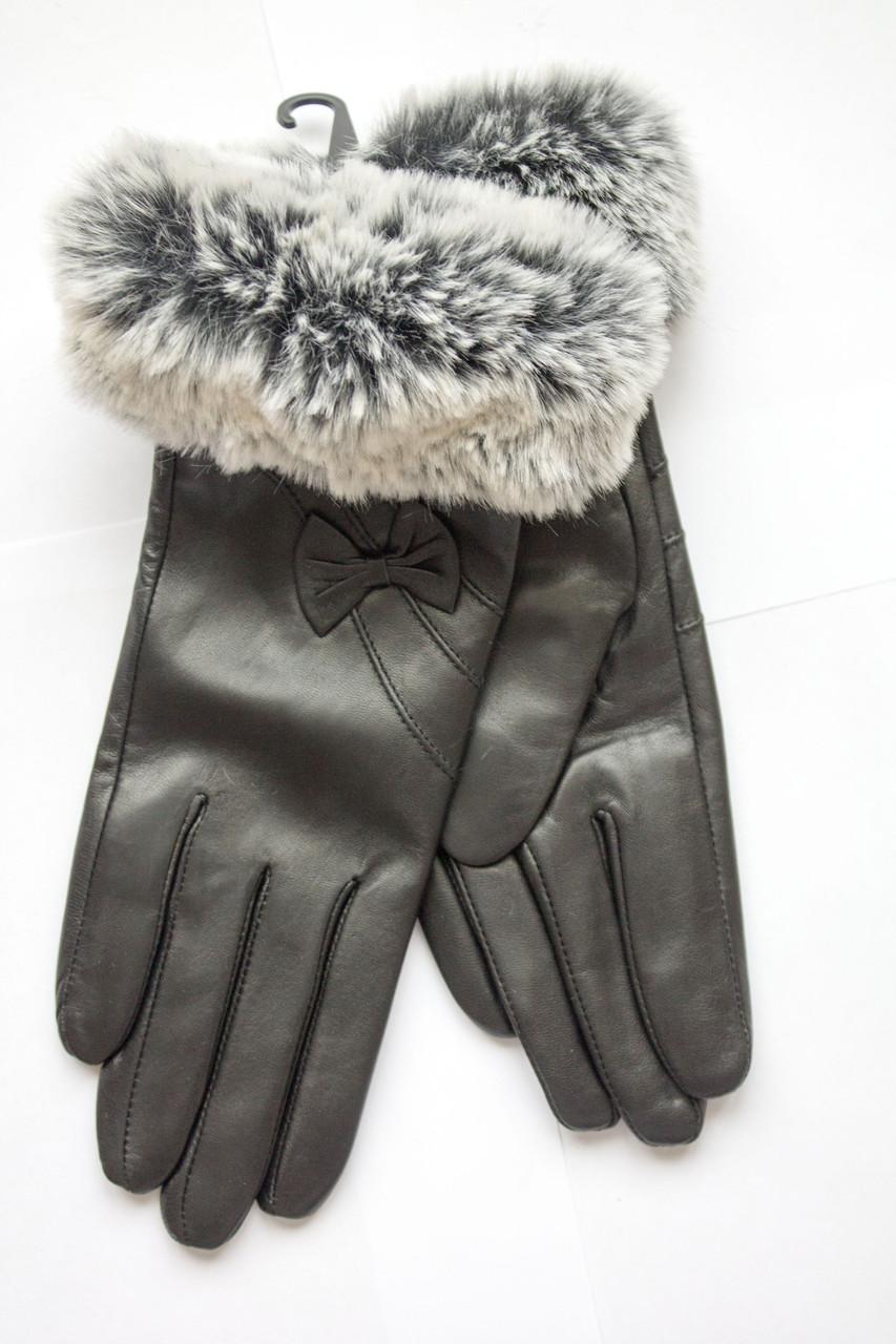 Женские перчатки с мехом из кожи козы МАЛЕНЬКИЕ