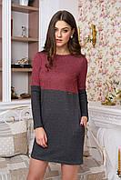 Теплое женское платье Веста бордовый  50-52  размеры