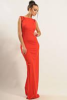 Элегантное женское вечернее платье красного цвета.