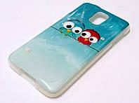 Чехол силиконовый с рисунком птички для Samsung Galaxy S5 i9000 / g900
