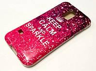 Чехол силиконовый с рисунком keep calm & sparkle розовый Samsung Galaxy S5 mini g800h