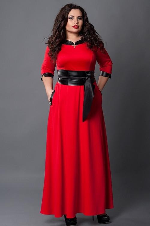 4ff4a841099 Новинка Вечернее платье длинное в пол насыщенного красного цвета с кожаным  поясом