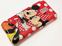Чехол детский силиконовый с рисунком Mickey & Minnie Микки Маус красный для Samsung Galaxy S5 mini g800h