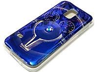 Чехол силиконовый с рисунком BMW M руль синий для Samsung Galaxy S5 mini g800h