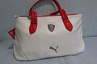 Сумка женская Puma (072240-02) белая с красными ручками код 0475А