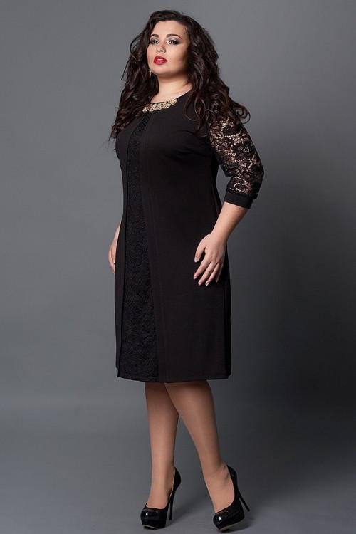 9728fda76b7e65f Элегантное вечернее платье черного цвета с гипюровыми рукавами и золотистое  украшение на груди - Оптово-