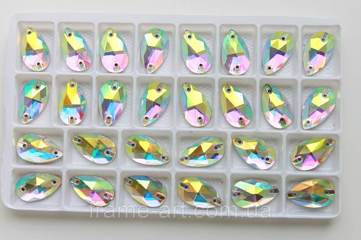 Стразы пришивные Капля 11*18мм Crystal AB, стекло