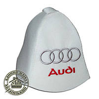 """Audi"", шапка для бани (Э), белая"