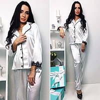 """Стильная женская пижама с брюками 339 """"Атлас Кант Контраст Кружево"""" в расцветках"""