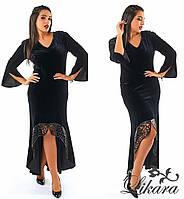 Женское бархатное платье макси с открытой спиной