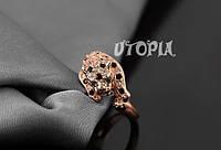 333 - Бижутерия оригинальное позолоченное кольцо в виде головы леопарда