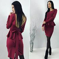 Платье женское короткое трикотажное с баской P5030