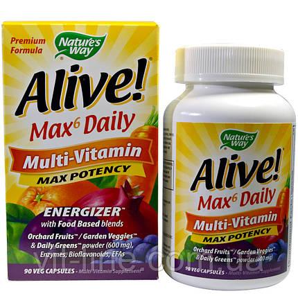Nature's Way, Alive!, до 6 в день, мульти-витамин, максимальная активность, 90 веганских капсул, фото 2