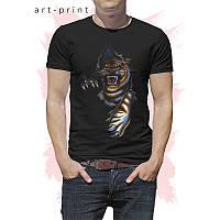 Чорна чоловіча футболка з тигром, фото 1