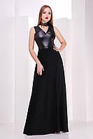 Женское черное платье в пол с открытыми плечами топ с кожи