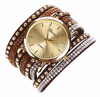 Женские часы с оригинальным ремешком Geneva Brown