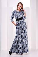 Женское платье в пол с поясом рукав короткий в цветочек