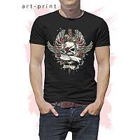 Прикольная черная мужская футболка с принтом Skull Wings