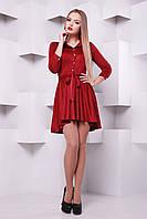 Женское яркое платье с замши до средины бедра с поясом
