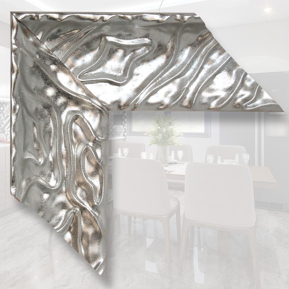 Зеркало в деревянном, серебряном багете 101мм