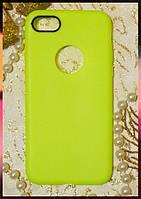 Силиконовый чехол с прорезью для логотипа Apple iPhone 7 салатового цвета с ободком вокруг камеры