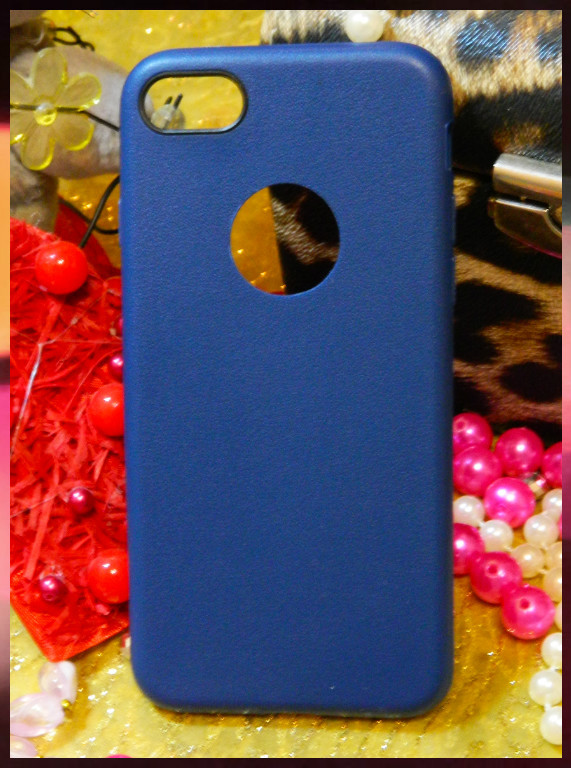 Силиконовый чехол с прорезью для логотипа Apple iPhone 7 синего цвета с ободком вокруг камеры