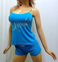 """Пижама женская майка с шортами """"Amore"""" на тонкой бретельке, """"сердце любви"""""""