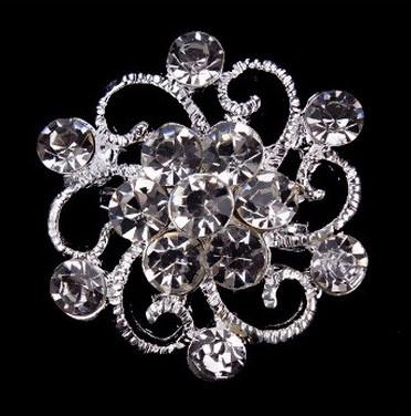 Брошь Хрустальный цветок серебро sbm11/ цвет серебро