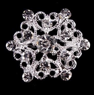 Брошь Хрустальный цветок серебро sbm7/ цвет серебро