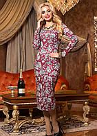 Нарядное Трикотажное Платье Миди Бордовое с Большими Розами S-XL