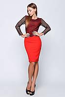 Женское красивое платье с гепюром реснички (3 цвета)